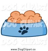 Vector Cartoon Clip Art of a Wet Dog Food in a Blue Bowl Dish by Hit Toon