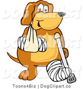 Vector Cartoon Clip Art of an Injured Brown Dog Mascot Cartoon Character with an Arm and Leg Bandaged After an Accident by Toons4Biz