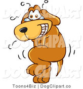 July 22nd, 2012: Vector Cartoon Clip Art of an Upset Brown Dog Mascot Cartoon Character Trying to Hold It In, but Has to Go Pee by Toons4Biz