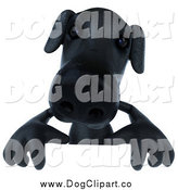 Vector Clip Art of a 3d Black Lab Dog over a Sign by Julos