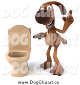 Vector Clip Art of a 3d Brown Dog by a Toilet by Julos