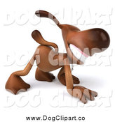 Vector Clip Art of a 3d Brown Dog Character Walking on All Fours by Julos