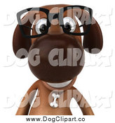 Vector Clip Art of a 3d Brown Dog Wearing Glasses, from the Chest up by Julos