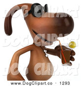 Vector Clip Art of a 3d Brown Dog Wearing Sunglasses and Sipping a Beverage by Julos