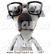 Vector Clip Art of a 3d Jack Russell Terrier Dog Wearing Glasses by Julos