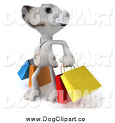 November 2nd, 2014: Vector Clip Art of a 3d Jack Russell Terrier Dog with Colorful Shopping Bags by Julos