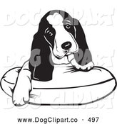 Vector Clip Art of a Adorable Basset Hound Puppy Dog with Long Ears, Sitting on a Dog Bed and Tilting His Head Curiously, on White by David Rey