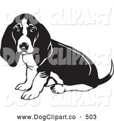 Vector Clip Art of a Basset Hound Dog with Sitting and Looking at the Viewer While Wagging His Tail on White by David Rey