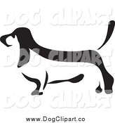 Vector Clip Art of a Basset Hound in Black and White Profile by Prawny