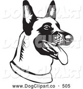 Vector Clip Art of a Belgian Shepherd Dog Canine Hanging His Tongue out While Panting by David Rey
