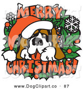 Vector Clip Art of a Big Saint Bernard on a Merry Christmas Sign over White by Andy Nortnik