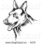 Vector Clip Art of a Black and White German Shepherd Guard Dog by Any Vector
