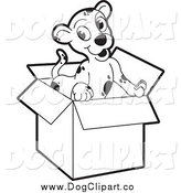 Vector Clip Art of a Black and White Puppy in a Cardboard Box by Lal Perera