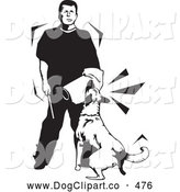 Vector Clip Art of a Black and White Trainer Man, on a White Background by David Rey