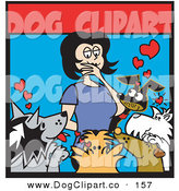 Vector Clip Art of a Black Haired Woman Surrounded by Dogs in an Animal Shelter, Thinking of Which One to Adopt by Andy Nortnik