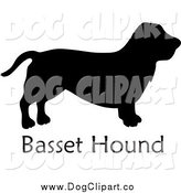 January 16th, 2015: Vector Clip Art of a Black Silhouetted Basset Hound Dog and Text by Pams Clipart