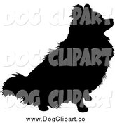 Vector Clip Art of a Black Silhouetted Sitting Pomeranian Dog by Maria Bell
