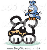 Vector Clip Art of a Blue Bird Sitting on a Dog's Ear Flapping Its Wings by Andy Nortnik