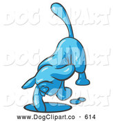 Vector Clip Art of a Blue Hound Dog Digging a Hole by Leo Blanchette