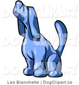Vector Clip Art of a Blue Tick Hound Dog Sniffing the Air or Howling by Leo Blanchette