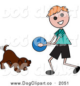 Vector Clip Art of a Boy Playing Ball with a Dog by Pams Clipart