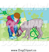 Vector Clip Art of a Boy Playing Fetch with His Dog by Mayawizard101