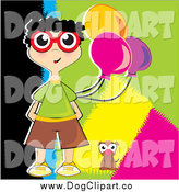 Vector Clip Art of a Boy Wearing Glasses and Holding Party Balloons, Standing by a Dog by