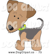Vector Clip Art of a Brown Airedale or Waterside Terrier Puppy Dog Wearing a Green Collar with Yellow Dots by Maria Bell