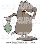 Vector Clip Art of a Brown Dog Holding a Stinky Dead Fish and Plugging His Nose by Djart