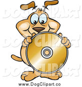 Vector Clip Art of a Brown Dog Holding up and Standing Behind a Blank Gold Cd or Dvd by Dennis Holmes Designs