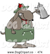 Vector Clip Art of a Brown Partying Dog Drinking a Beer from a Setin at Oktoberfest by Djart