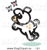 Vector Clip Art of a Carefree Cute White Dog Chasing Pink and Blue Butterflies by Andy Nortnik
