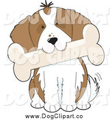 Vector Clip Art of a Cavalier King Charles Spaniel Dog Tilting His Head and Biting a Bone by Maria Bell