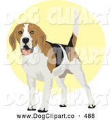 Vector Clip Art of a Cheerful and Friendly White, Tan and Black Beagle Dog Wagging His Tail by David Rey