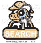 Vector Clip Art of a Cheerful Detective White Dog Looking Through a Magnifying Glass on a Search Internet Web Icon by Andy Nortnik