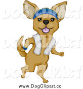 Vector Clip Art of a Chihuahua Jogging Upright, a Towel over His Shoulders by BNP Design Studio