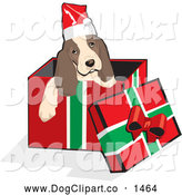 Vector Clip Art of a Christmas Spaniel Puppy in a Gift Box by David Rey
