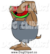 December 30th, 2014: Vector Clip Art of a Chubby Brown Dog in Overalls, Eating a Slice of Watermelon by Djart