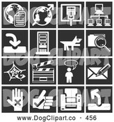 Vector Clip Art of a Collection of 16 White Icons over a Black Background, Including Globes, Communications, Computers, a Dog, Files, Clapboard, Messenger, and a Letter by AtStockIllustration