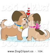 Vector Clip Art of a Couple Brown Dogs in Puppy Love, Kissing and Looking Eachother in the Eyes by Maria Bell