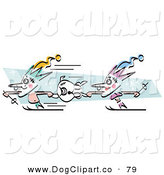 Vector Clip Art of a Couple of Court Jesters Holding onto a Dog and Skiing on White by Andy Nortnik