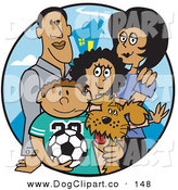 Vector Clip Art of a Couple of Happy Parents Standing with Their Son, Daughter and the Family Dog by Andy Nortnik