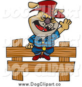 Vector Clip Art of a Cowboy Bulldog Sitting and Waving on a Wooden Fence by Dennis Holmes Designs