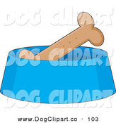 Vector Clip Art of a Crunchy Dog Biscuit in a Blue Dog Bowl, Waiting for a Dog to Eat It by Maria Bell