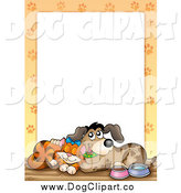 Vector Clip Art of a Cuddling Cat and Dog with Paw Prints Around White Space by Visekart