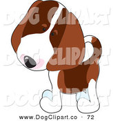 Vector Clip Art of a Curious Little Beagle Puppy Dog Tilting His Head and Looking to the Left by Maria Bell