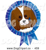Vector Clip Art of a Cute Adorable King Charles Spaniel Dog Face on a Blue Prize Ribbon for a Dog Show by Maria Bell