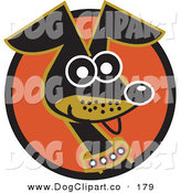 Vector Clip Art of a Cute and Alert Daschund Dog Wearing a Collar and Panting on a Circle by Andy Nortnik