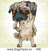 Vector Clip Art of a Cute and Bossy Pug Dog Signaling over His Shoulder for His Owner to Pick up His Poop by Tonis Pan