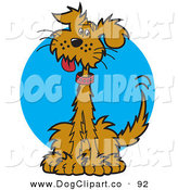 Vector Clip Art of a Cute and Curious Dog Sitting and Hanging His Tongue out on a Blue Background by Andy Nortnik